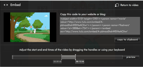The Hulu.com clip editing screen